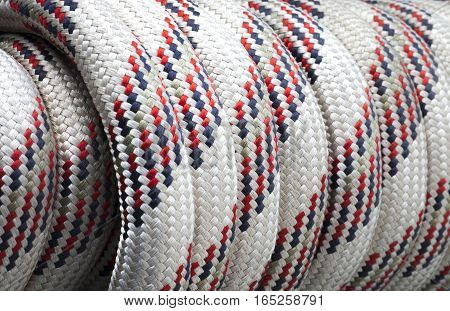 wrapped up white static rope on reel