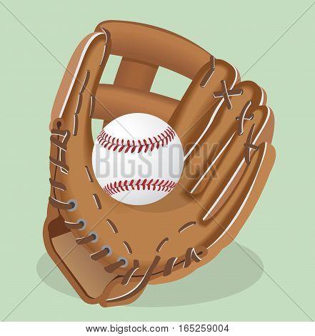Vector realistic illustration. Baseball glove and ball. Sport equipment.