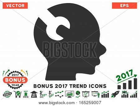 Green And Gray Brain Wrench Tool pictogram with bonus 2017 trend pictograms. Vector illustration style is flat iconic bicolor symbols white background.