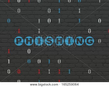 Protection concept: Painted blue text Phishing on Black Brick wall background with Binary Code