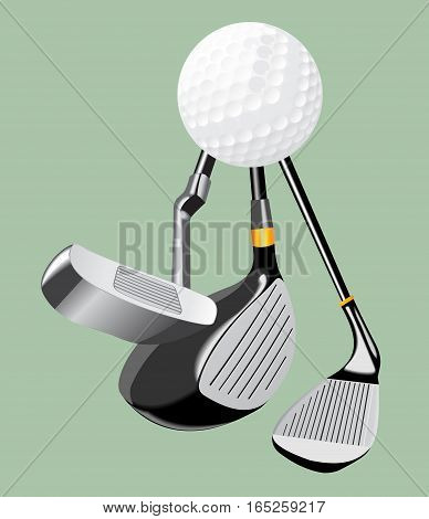 Vector realistic illustration. Golf club and golf ball. Sport euipment. Golf putter