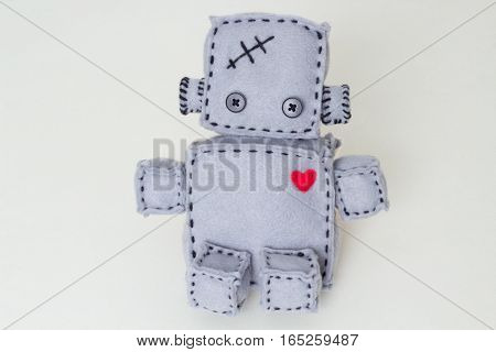 Soft Robot Toy on white close up