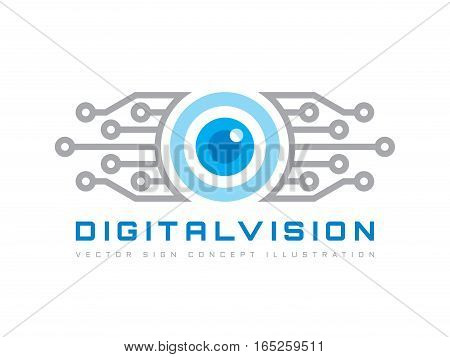 Digital vision - vector logo template concept illustration. Abstract human eye creative sign. Security technology and surveillance. Design element.