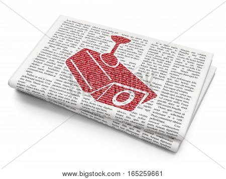 Privacy concept: Pixelated red Cctv Camera icon on Newspaper background, 3D rendering