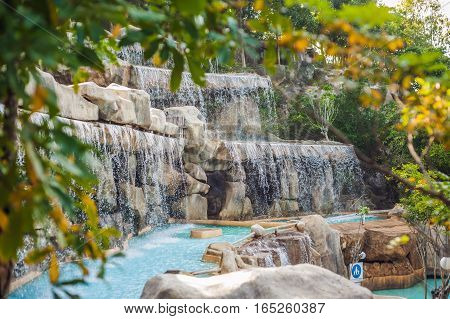 Artificial Waterfall In The Park Of Mineral Springs