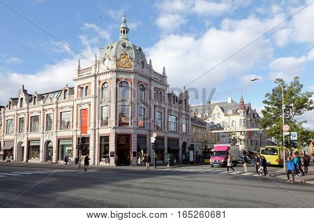 Trondheim Norway - September 30 2016: Old building in downtown Trondheim at the intersection of the streets Olav Tryggvasons gate and Sondre gate.