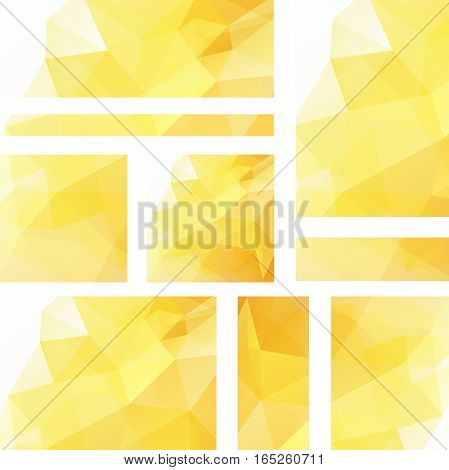 Vector Banners Set With Polygonal Abstract Triangles. Abstract Polygonal Low Poly Banners. Yellow, W