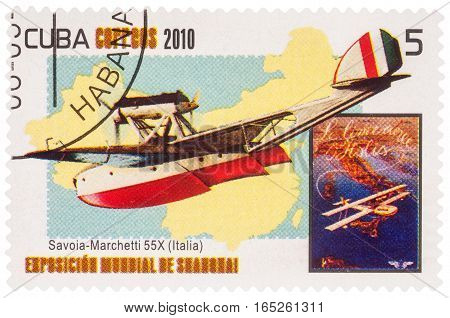 MOSCOW RUSSIA - January 12 2017: A stamp printed in Cuba shows Savoia-Marchetti S.55 Italian double-hulled flying boat (1924) series