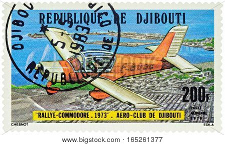 MOSCOW RUSSIA - January 11 2017: A stamp printed in Djibouti shows French light aircraft Morane Saulnier Rallye Commodore series