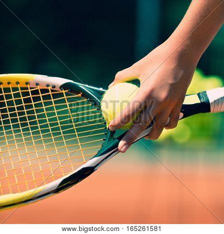 Tennis - serving detail, toned image, square image