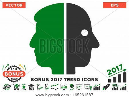 Green And Gray Dual Face icon with bonus 2017 year trend icon set. Vector illustration style is flat iconic bicolor symbols white background.