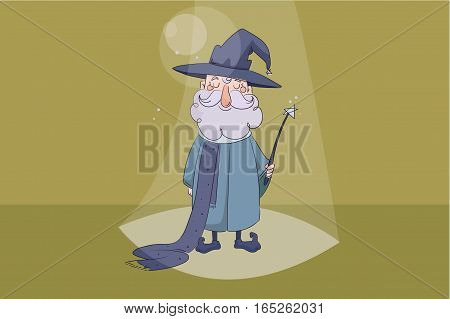 children s vector illustration. Good wizard holding a magic wand in his hand and smiling on yellow background