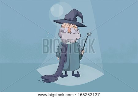 children's  illustration with texture. Good wizard holding a magic wand in his hands and smiling.
