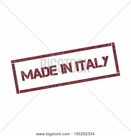 Made In Italy Rectangular Stamp. Textured Red Seal With Text Isolated On White Background, Vector Il