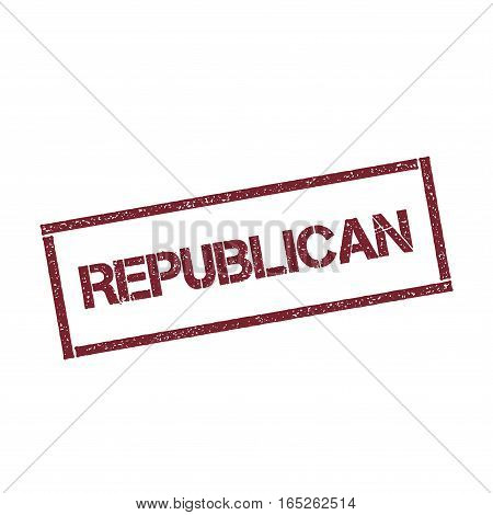 Republican Rectangular Stamp. Textured Red Seal With Text Isolated On White Background, Vector Illus