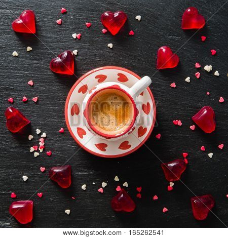 Valentine's day concept - sweets heart shaped, coffee, top view