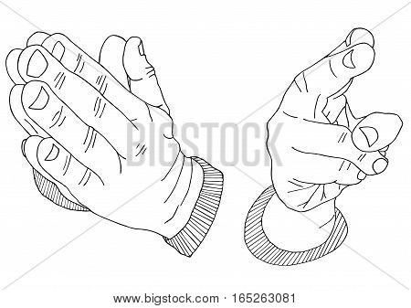 Palms bless and pray Hand drawn sketched vector illustration. Wrist Doodle Flourish graphic with ornate pattern. Design Isolated on white.