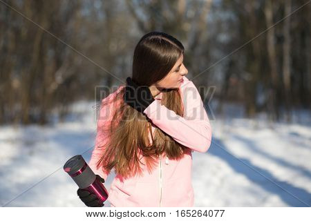 A Young Girl Goes In For Sports In Winter Park.