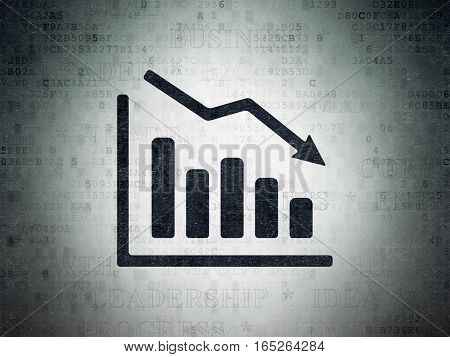Business concept: Painted black Decline Graph icon on Digital Data Paper background with  Tag Cloud