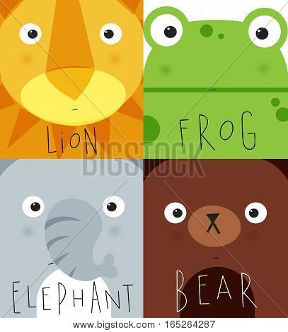 Set of animal muzless lion frog elephant bear dwawing in cute cartoon style