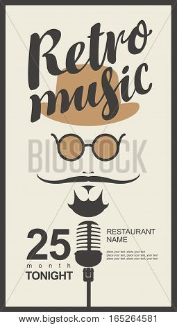 man face with a mustache and wearing a hat and glasses with a microphone and an inscription retro music in hipster style