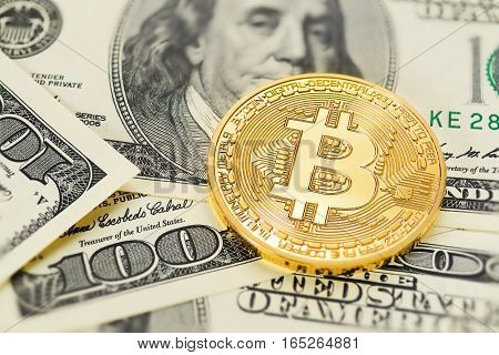 Bitcoin And Dollar Bills
