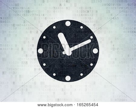 Time concept: Painted black Clock icon on Digital Data Paper background