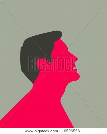 Stylized silhouette of a man which is looking up. Chest is naked. Isolated on warm grey background.
