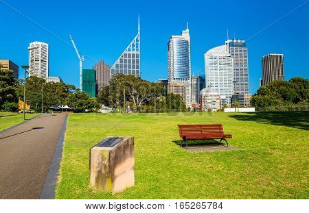 Skyscrapers of Sydney seen from Royal Botanical Garden. Australia, New South Wales