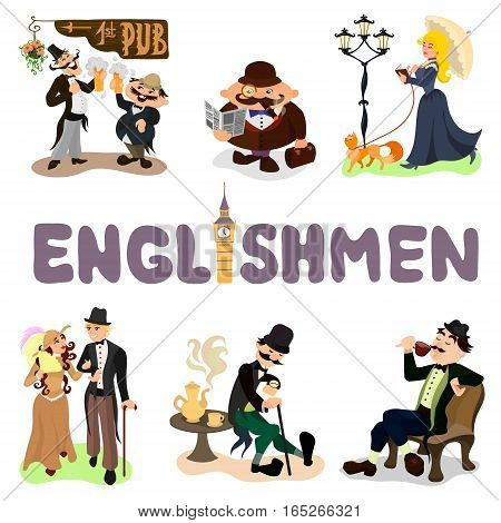 Set of typical Englishmen. Drinking tea, walking in a park, reading a book, tasting beer. Flat vector illustration