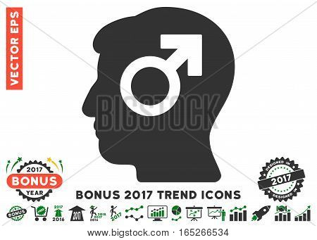 Green And Gray Mind Potency pictograph with bonus 2017 trend icon set. Vector illustration style is flat iconic bicolor symbols, white background.