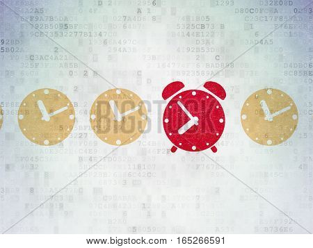Time concept: row of Painted yellow clock icons around red alarm clock icon on Digital Data Paper background