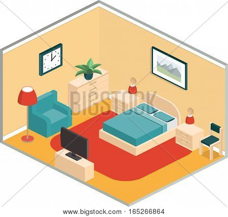 Bedroom design with furniture and TV in retro colors. Isometric interior. Vector 3D illustration.