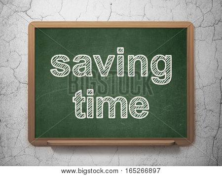 Time concept: text Saving Time on Green chalkboard on grunge wall background, 3D rendering
