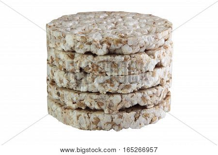 crispbread isolated on white background. healthy eating vegetarianism