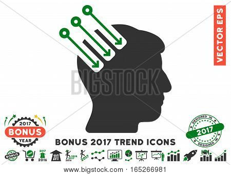 Green And Gray Neuro Interface pictogram with bonus 2017 trend design elements. Vector illustration style is flat iconic bicolor symbols, white background.