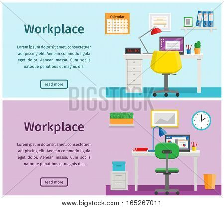 Horizontal banners of business theme. Colorful design workspace or home workplace. Office interior in flat style with furniture and equipment. Vector.