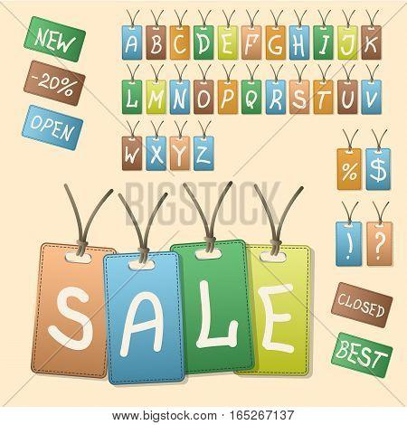 Vintage Style Sale Tags Design. Vector illustration Alphabet letters
