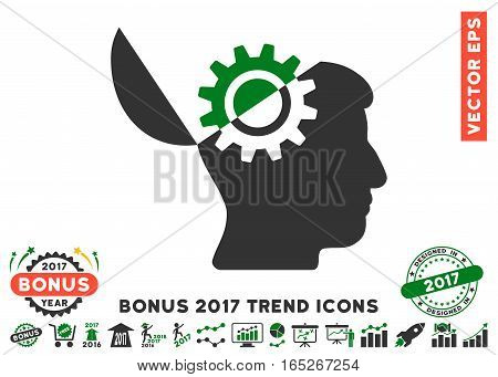 Green And Gray Open Mind Gear icon with bonus 2017 trend clip art. Vector illustration style is flat iconic bicolor symbols, white background.