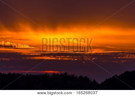Colorful sky and clouds in a Wisconsin sunset.