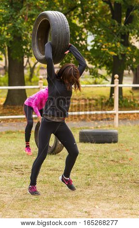 Kyiv Ukraine - October 08 2016. CrossFit training preparation for competition