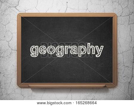Science concept: text Geography on Black chalkboard on grunge wall background, 3D rendering