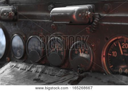 old car dashboard, analog ampermeter, tachometer and temperature