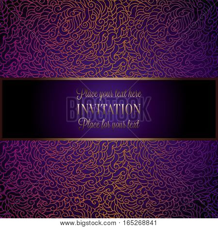 Wedding Invitation Or Card , Intricate Doodle Tracery With Gold Frame And Violet Place For Text. Roy