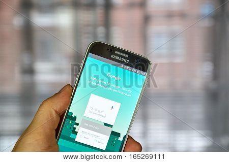 MONTREAL CANADA - DECEMBER 23 2016 : OK Google application on Samsung S7 screen