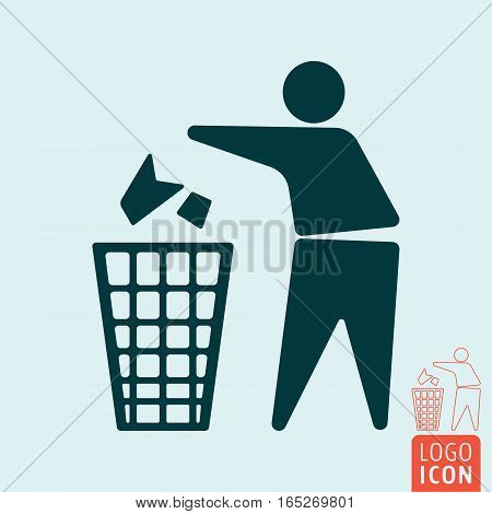 Keep clean icon. No littering - use trash can symbol. Vector illustration.