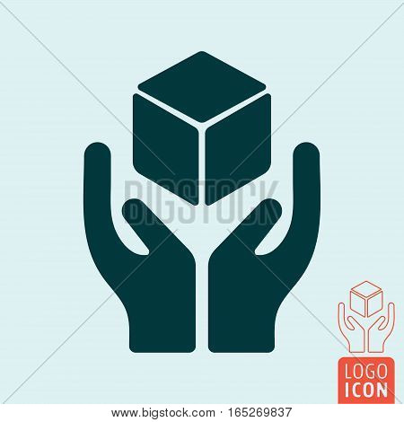 Handle with care icon. Package handling label. Vector illustration.