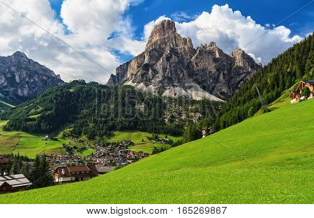 overview of Corvara in Badia town and Sassongher mount south Tyrol Italy