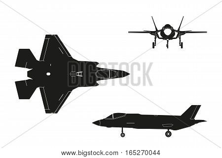 Black silhouette of military aircraft on white background. Top side front views. Fighter jet. Vector illustration.