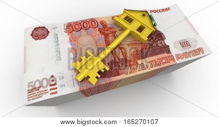 Money for the purchase of real estate. Golden key in the form of the house is lying on a stack of 5000 banknotes of the Russian ruble. Isolated. 3D Illustration